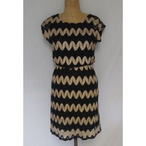AUW Black & Gold Crochet Knit Dress w/Belt Size S